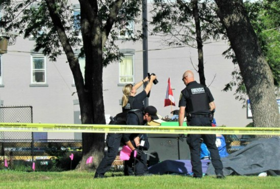 "The Winnipeg police forensic unit was at the scene after the ""suspicious death"" of man at William Whyte Park on Wednesday morning. (Photo: Northern Plains Freelancer)"