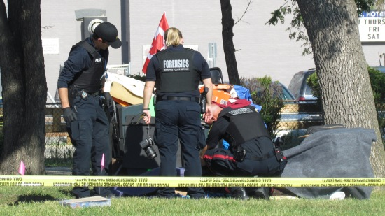 The Winnipeg police forensic unit looks for clues and bags evidence after the death of man at William Whyte Park on Wednesday morning. (Photo: Northern Plains Freelancer)