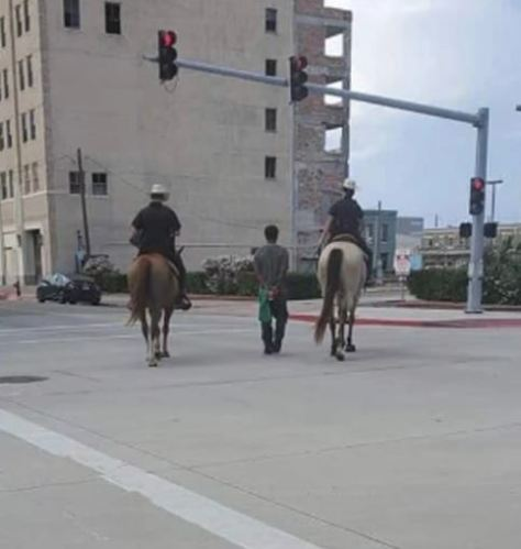 Photos and video emerged online after two officers on horseback led Donald Neely in handcuffs through Galveston streets by a rope. (Photo/Twitter)
