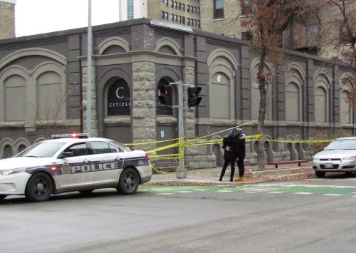 Police tape surrounded the area around Citizen nightclub on Princess Street and Bannatyne Avenue, early Saturday, after two men were shot. Photo: Northern Plains Freelancer.