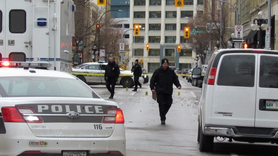 Police investigate a shooting at Citizen nightclub on Princess Street and Bannatyne Avenue, early Saturday. Photo: Northern Plains Freelancer.