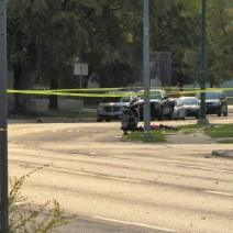 Police tape surrounds a suspicious item on Dufferin Avenue.