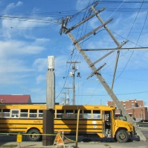 A school bus carrying children collided with a hydro pole on Logan Avenue and Stanley Street.