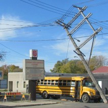 A school bus crashed into a hydro pole by the Salvation Army on Logan Avenue.